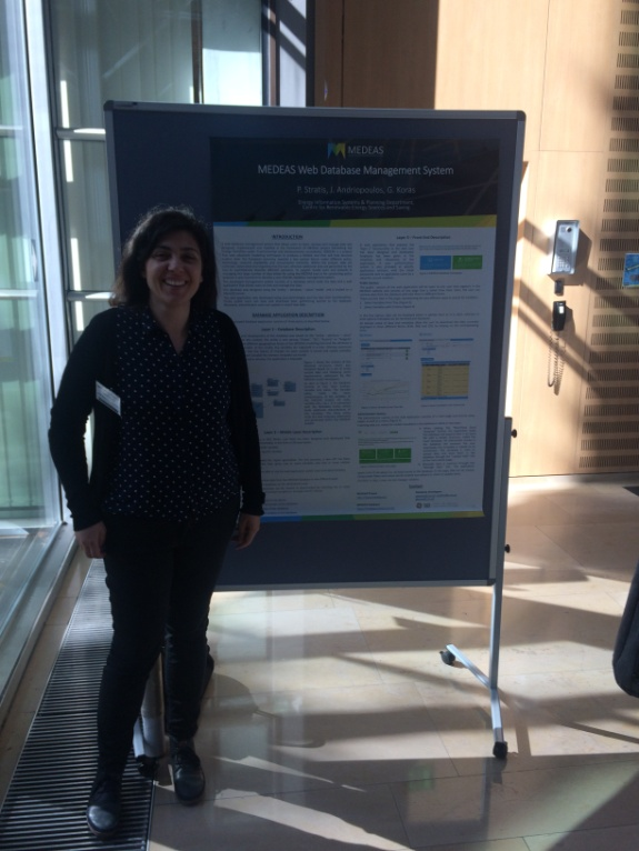 "Figure 14. Stavroula Papagianni from CRES presents a poster on the ""MEDEAS web database management system"""